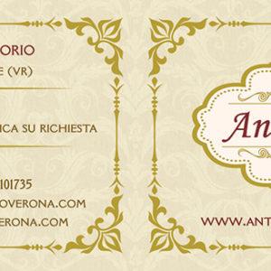 Biglietto da visita doppio per Antichità Turco con impressioni oro